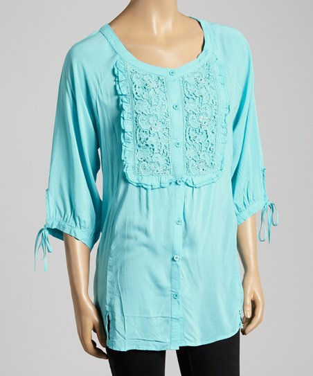 Light Blue Sequin Button-Up Top - Women