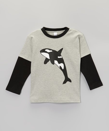 Heather Gray & Black Orca Layered Tee - Toddler & Boys