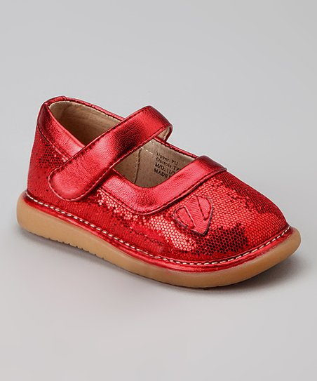 Pickle Footwear Red Blossom Squeaker Mary Jane
