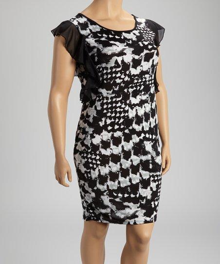 Black & White Abstract Cap-Sleeve Dress - Plus