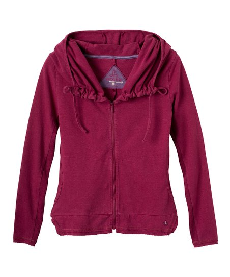 Plum Red Reba Organic Zip-Up Hoodie - Women