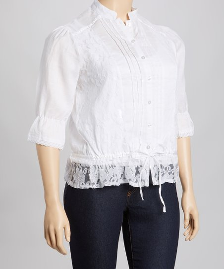 White Lace Pleated Linen Top - Plus
