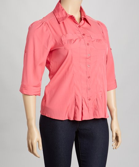 Berry Pleated Button-Up - Plus