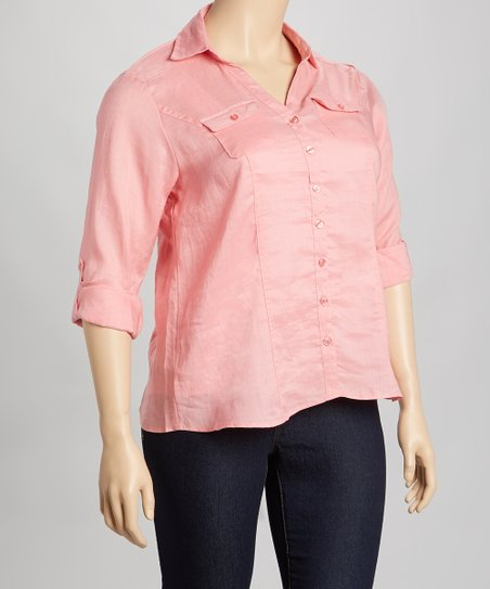 Salmon Linen Button-Up - Plus