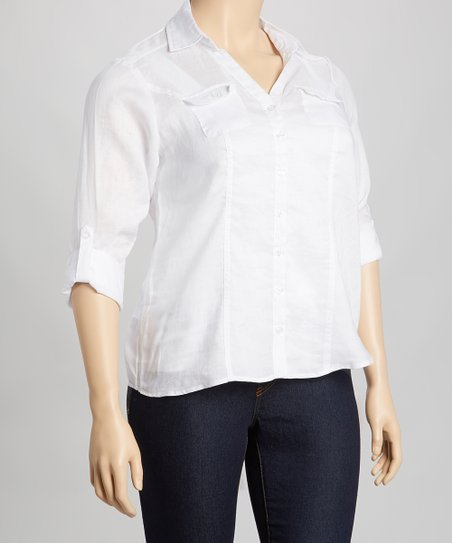White Linen Button-Up - Plus