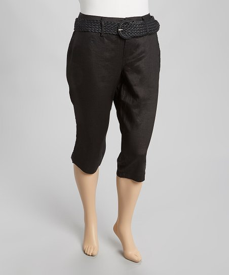 Black Linen Belted Capri Pants - Plus