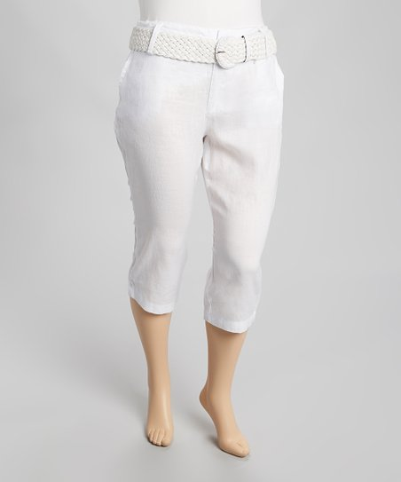 White Belted Linen Capri Pants - Plus