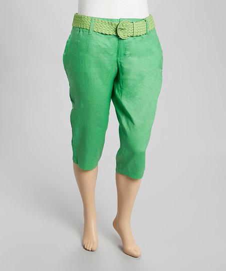 Green Belted Linen Capri Pants - Plus