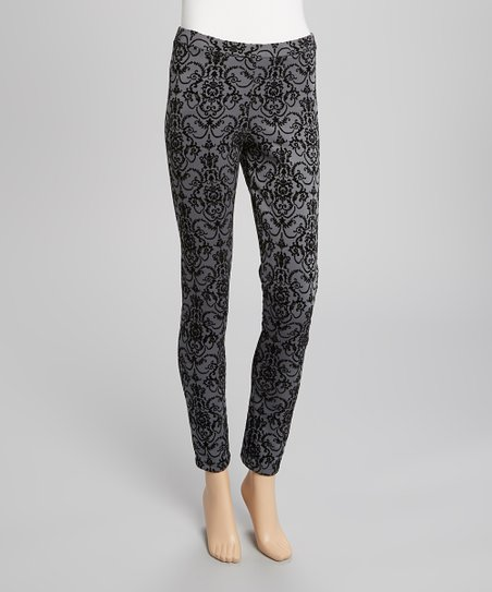 Charcoal Damask Skinny Pants