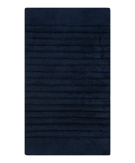 Navy Stripe Bath Rug
