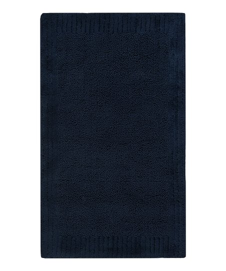 Navy Stripe Border Bath Rug