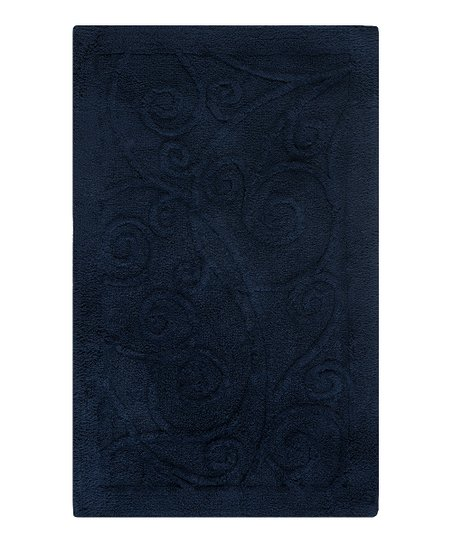 Navy Scroll Bath Rug