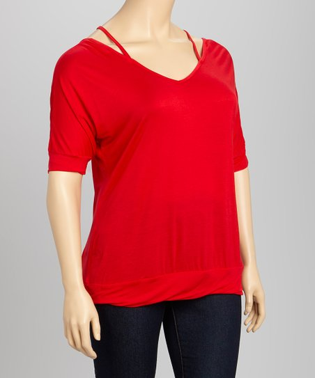 True Red Layered Racerback Dolman Top - Plus