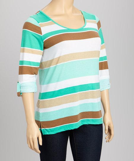 Green Stripe Layered Racerback Top - Plus