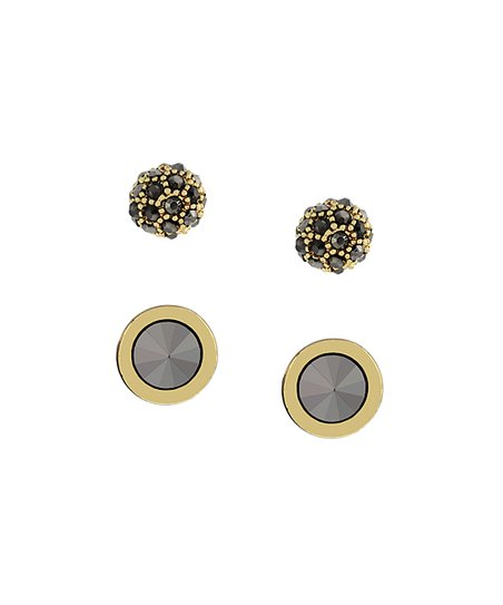 Gold & Black Crystal Earrings Set
