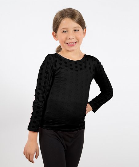 Black Polka Dot Burnout Tee  - Toddler & Girls