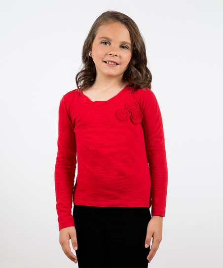 Red Mini Rosette Trio Tee - Toddler & Girls