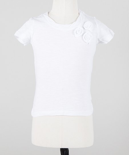White Rosette Trio Mini Short-Sleeve Tee - Toddler & Girls