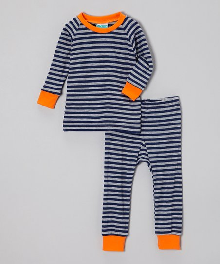 Navy & Blue Stripe Pajama Set - Infant & Toddler
