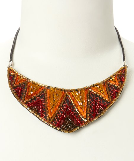 Orange & Brown Chevron Beaded Bib Necklace