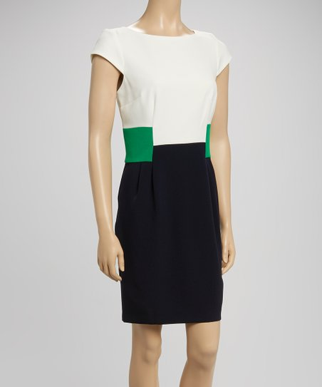 Ivory & Kelly Green Color Block Sheath Dress