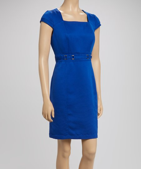 Sapphire Square Neck Sheath Dress