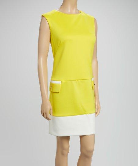 Yellow & Ivory Color Block Sheath Dress