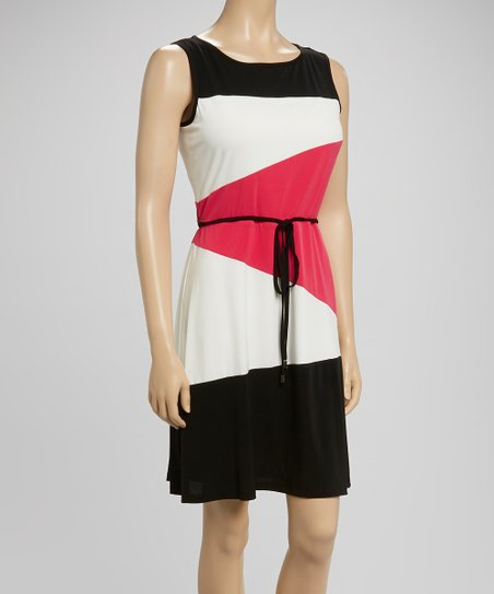 Black & Hot Pink Color Block Tie-Waist Dress