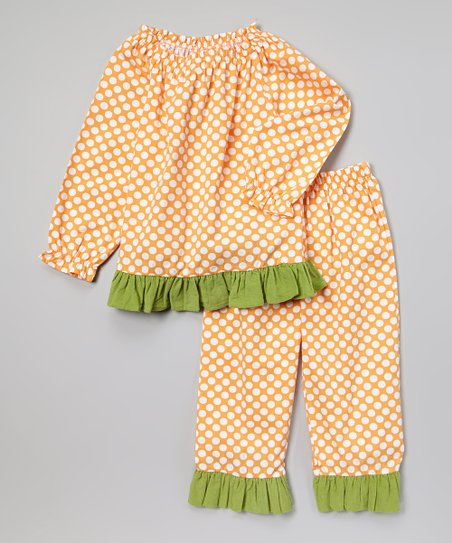 Orange & Green Peasant Top & Pants - Infant, Toddler & Girls