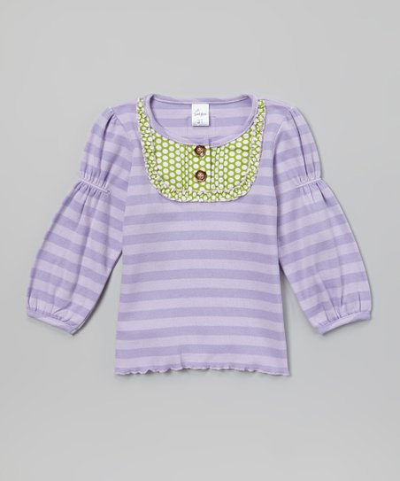 Purple & Green Stripe Yoke Tee - Toddler & Girls