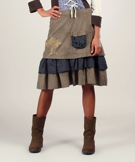 Blue & Khaki Oriane Skirt