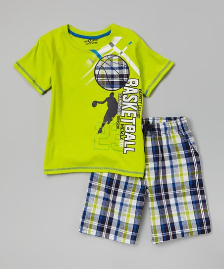 Green 'Basketball' Tee & Plaid Shorts - Infant, Toddler & Boys
