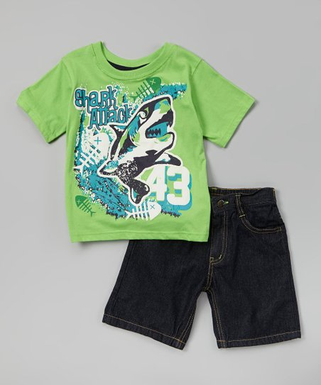 Salty Lime 'Shark Attack' Tee & Denim Shorts - Infant & Toddler