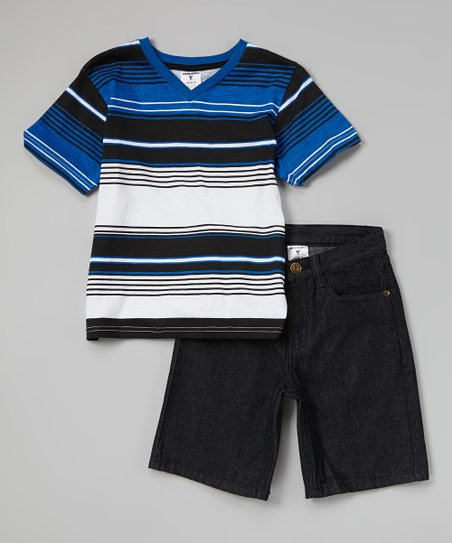 Royal Stripe V-Neck Tee & Denim Shorts - Infant, Toddler & Boys