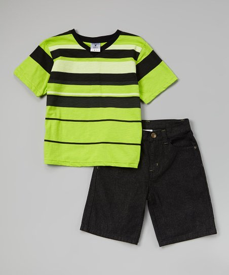 Lime Stripe V-Neck Tee & Denim Shorts - Toddler & Boys