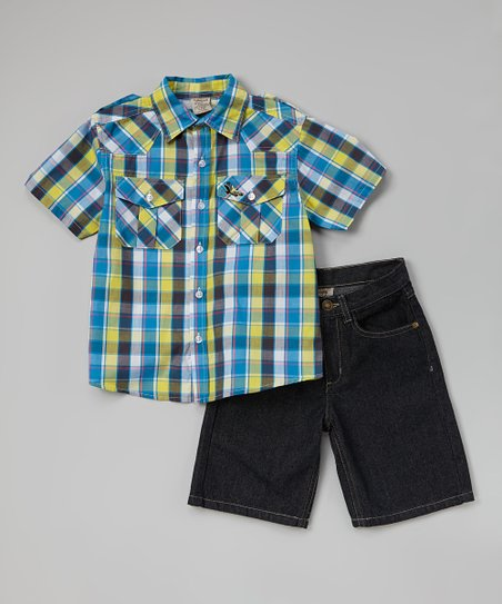 Yellow Plaid Button-Up & Denim Shorts - Infant, Toddler & Boys