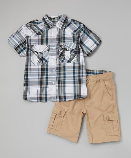 Gray Plaid Button-Up & Cargo Shorts - Toddler & Boys