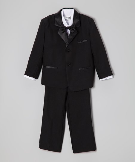 Black Satin Trim Five-Piece Tuxedo - Infant, Toddler & Boys