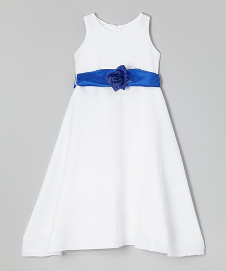 White & Royal Blue Sash A-Line Dress - Toddler & Girls