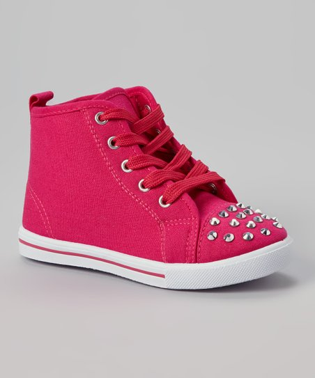 Fuchsia Star Studded Hi-Top Sneaker