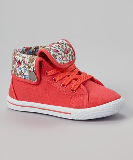 Coral Star Fold-Over Hi-Top Sneaker