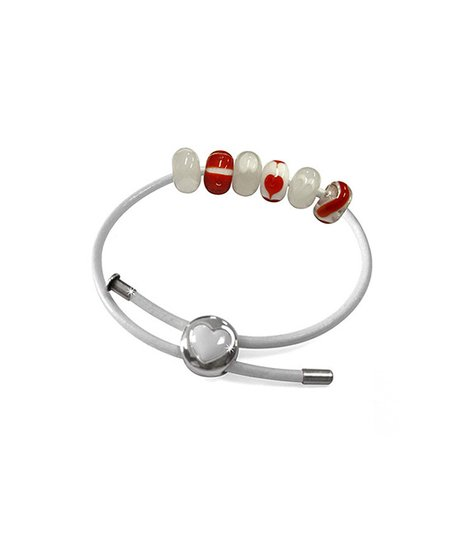 Red & White Faceted Heart Charm Bracelet