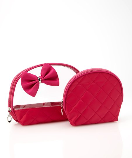 Fuchsia Bow Cosmetic Bag Set