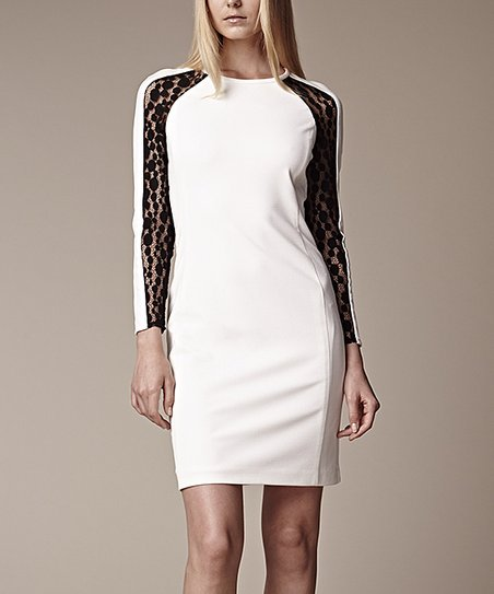 Ivory & Black Lace Long-Sleeve Dress