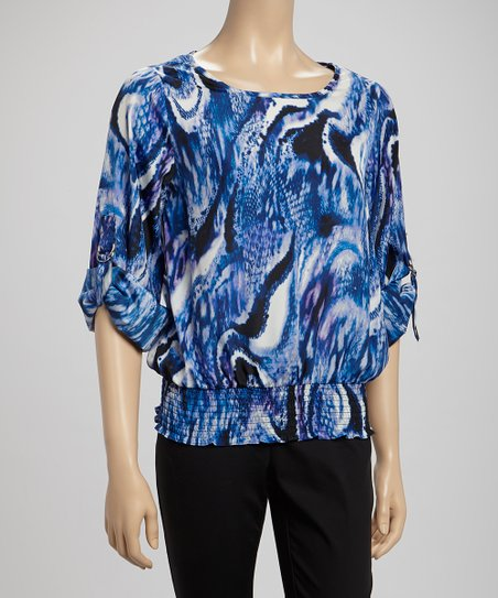 Indigo & Royal Blue Splash Three-Quarter Sleeve Top