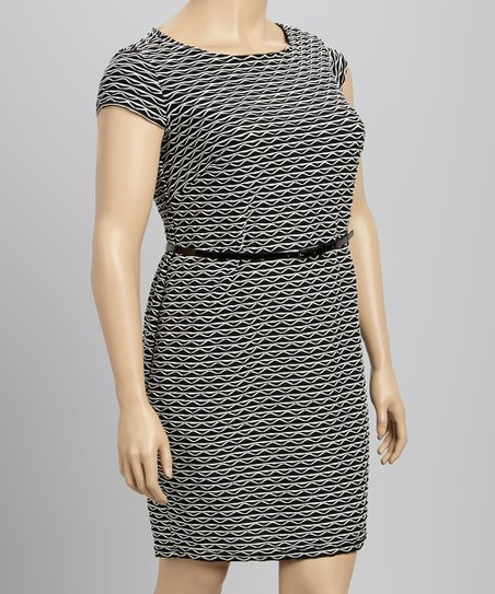 Black & Ivory Belted Dress - Plus