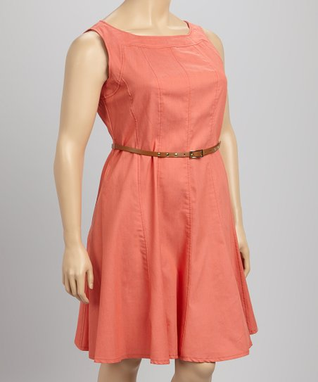 Coral Belted Sleeveless Dress - Plus