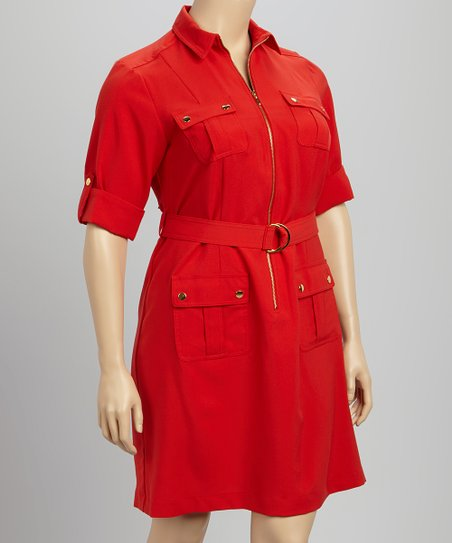 Red Military Belted Dress - Plus