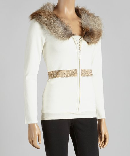 Ivory Faux Fur Rhinestone Zip-Up Cardigan