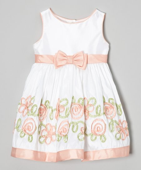 Coral & White Ribbon Flower Dress - Infant, Toddler & Girls